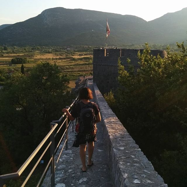On the city walls in Ston at sunset!